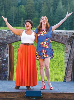GET HAPPY Shaleah Adkisson, left, and Courtney Markowitz sing a duet made famous by Judy Garland and Barbra Striesand. - RAY MABRY