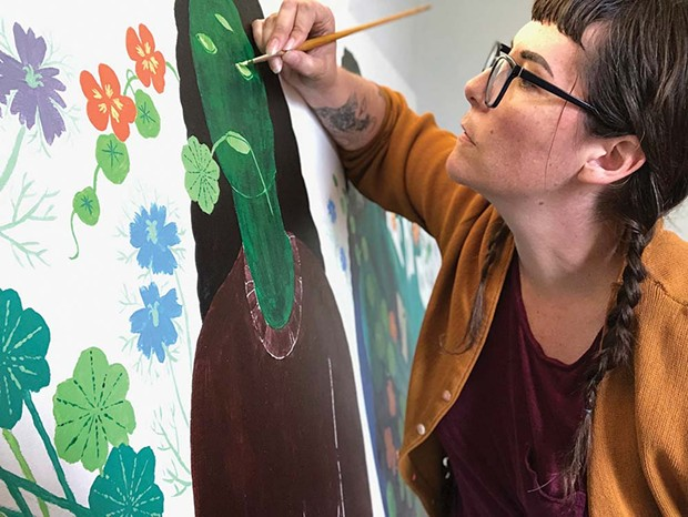 Local Style Santa Rosa illustrator and artist Mica Jennings works on her mural for the upcoming Barlow Midsummer Art Show. - SAREE ROBINSON