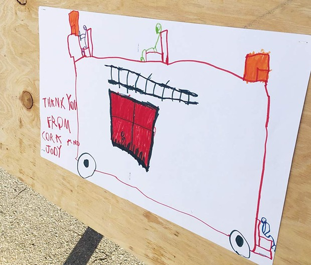 DRAWN TOGETHER A child's drawing expresses gratitude at a shelter. - WILL CARRUTHERS