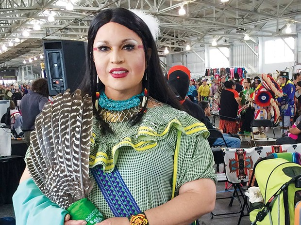 Two-Spirited Miko Thomas, aka Landa Lakes, attends the Bay Area American Indian 'Two-Spirit Powwow.' - RICK BACIGALUPI