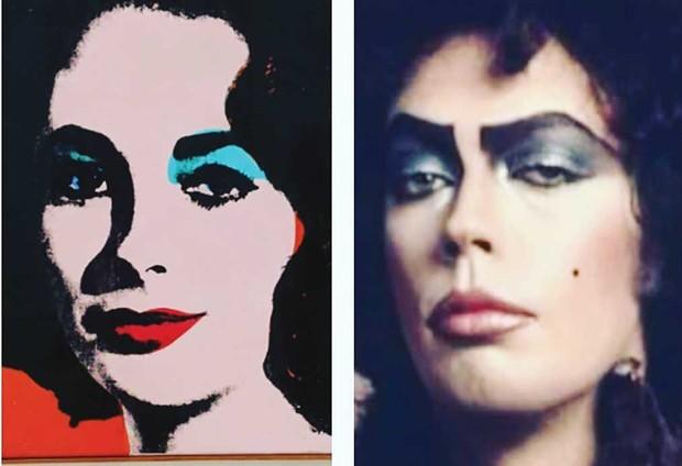 MIRROR MIRROR Andy Warhol's 'Liz #6' and Dr. Frankenfurter&mdash;separated at birth? - COURTESY SFMOMA/20TH CENTURY FOX<