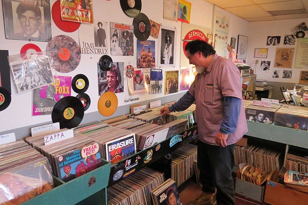 SPIN CYCLE Musician Kirk Heydt, proprietor of Petaluma's Spin Records, peruses the inventory. - DON R. LEWIS