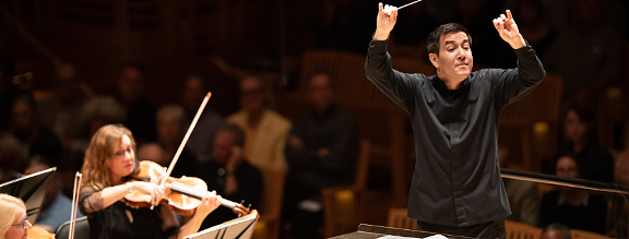Santa Rosa Symphony conductor Francesco Lecce-Chong leads the orchestra in a recent concert. - SUSAN AND NEIL SILVERMAN PHOTOGRAPHY