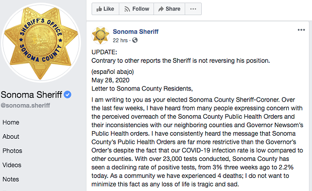 UPDATED: Sheriff's Stance On Health Order Enforcement Now Unclear