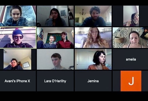 Members of the Sonoma County Sunrise Movement discuss their Earth Day plans on a video call.