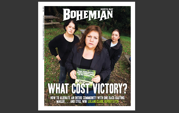 Laura Gonzalez, Lisa Maldonado and Holly Jaramillo pictured on the front cover of the Bohemian in December 2010.