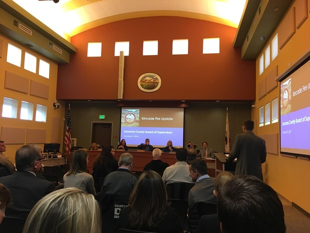The Sonoma County Board of Supervisors held an emergency meeting Thursday morning at Rohnert Park's City Hall.