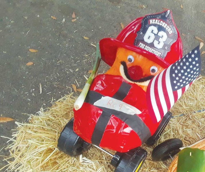 A pumpkin decorated in tribute to firefighters. - COURTESY OF HCFM