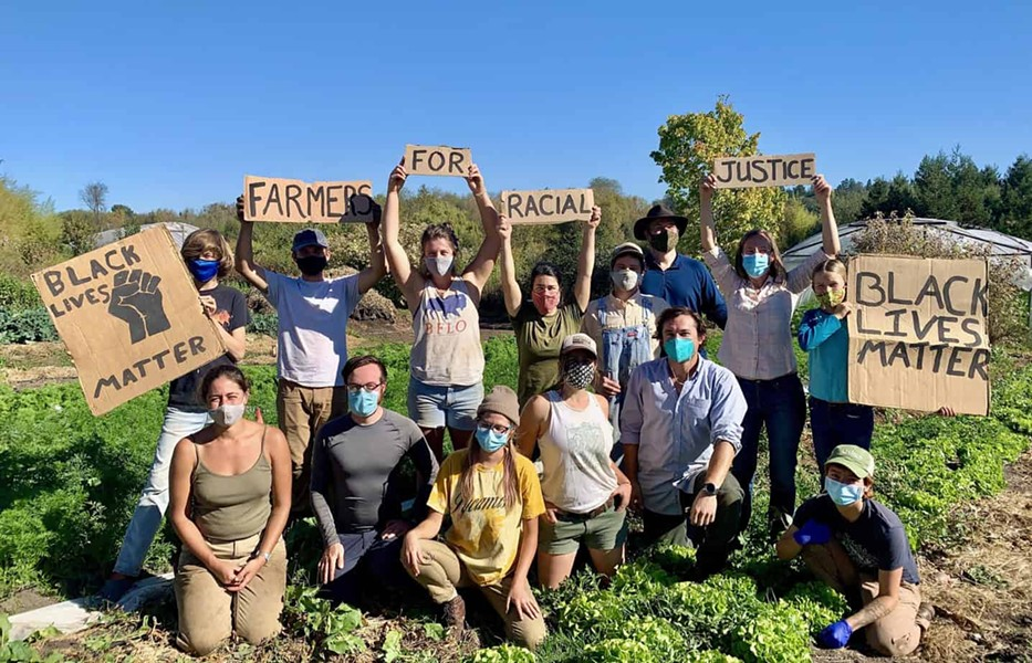 Members of Singing Frogs Farm in Sebastopol show their support for racial justice. - PHOTO COURTESY CAFF