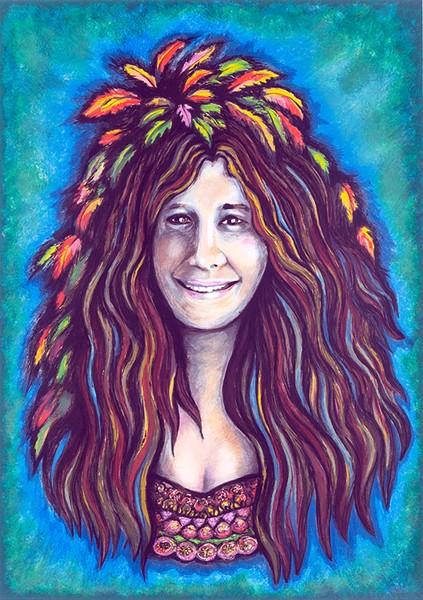SLICK DOES JANIS Grace Slick's portrait of Janis Joplin will be part of San Rafael Rock's art show.