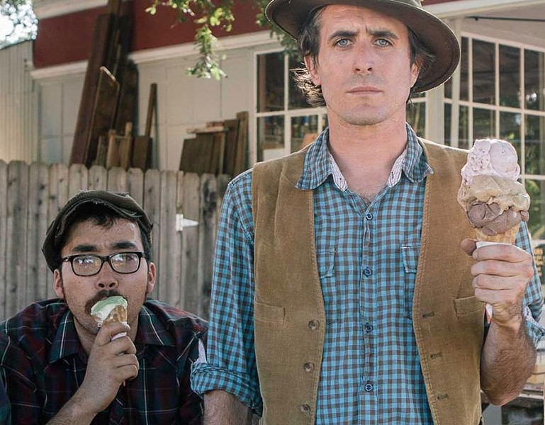 AMERICAN GOTHIC  Kalei Yamanoha and Josh Windmiller of the Crux count calories for upcoming NorBay show.