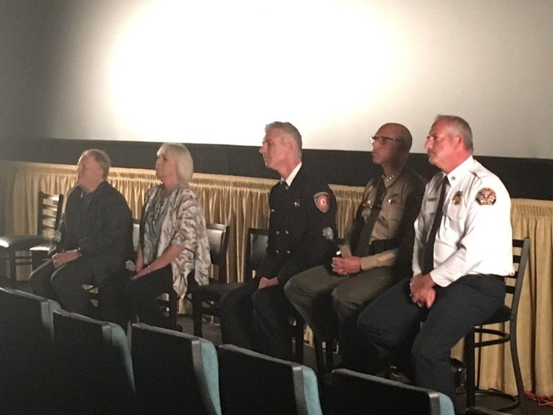 "(From left to right) KSRO president Michael O'Shea, news director Pat Kerrigan, Berkeley firefighter Mike Shuken, Sonoma County Sheriff Rob Giordano and Santa Rosa Fire Chief Tony Gossner attend the premiere of ""Urban Inferno."""