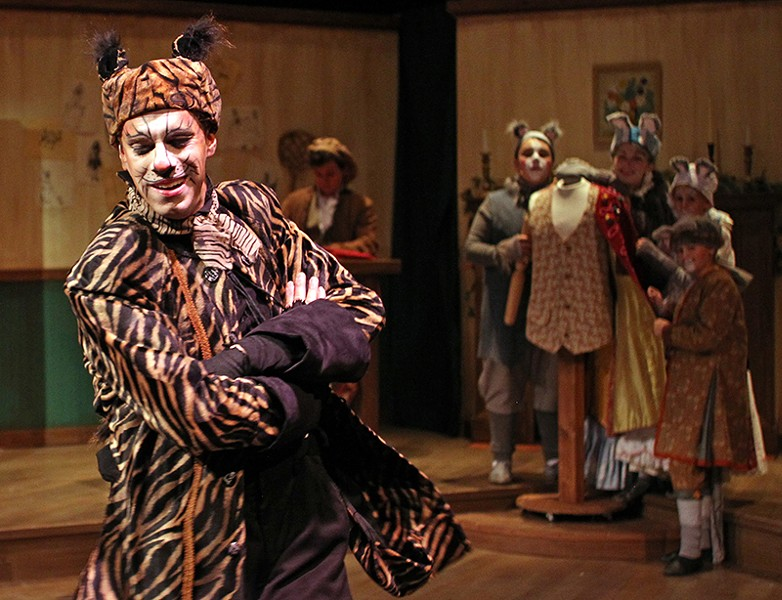 IDLE THREAD Zane Walters plays a cat imperiling industrious mice in 'The Tailor of Gloucester.' - JEFF THOMAS