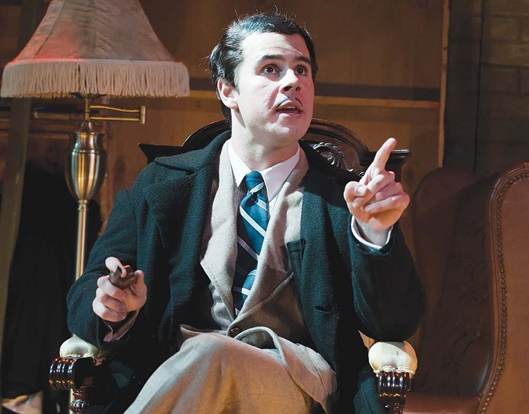 Mystery Man Nicolas Fernandez stars in the Summer Rep Theatre production of 'The 39 Steps.' - TOM CHOWN