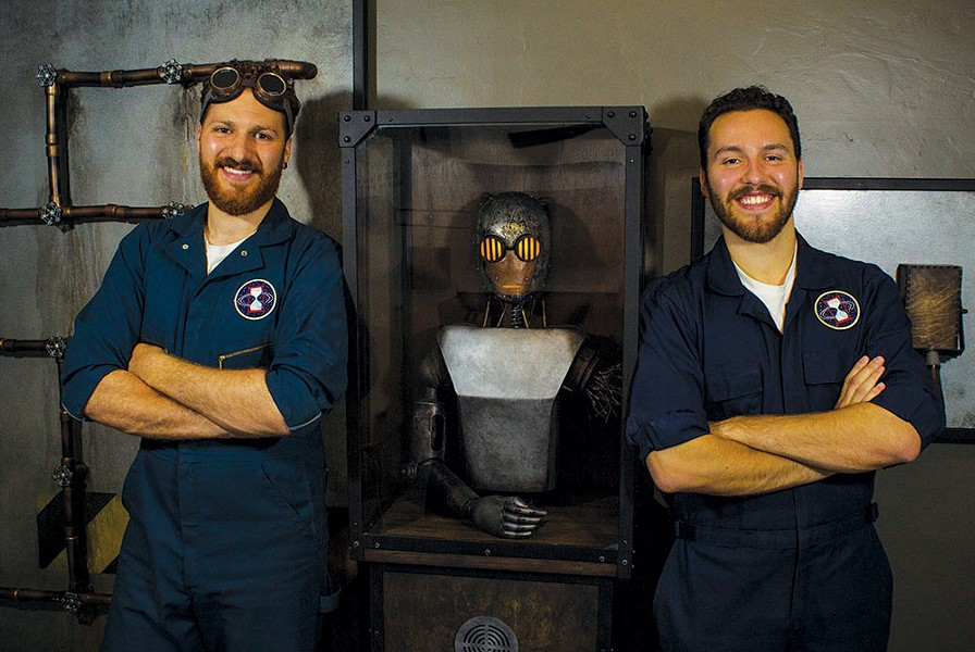 Working in the Lab Sebastopol natives Galen (left) and Aidan Forrest run the Spacetime Travel Agency with the help of a robot named Otto. - PHOTO COURTESY SPACETIME TRAVEL AGENCY