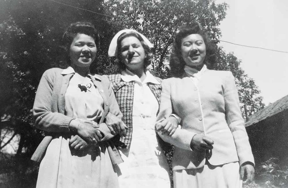 FOR ALL WOMEN Two Asian-American patients pose at Marin County's Arequipa Sanatorium in 1944; there was no racial discrimination at the institution. - PHOTO COURTESY LYNN DOWNEY