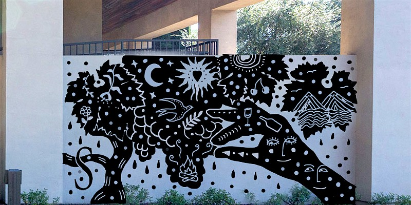 "Artist Angie Mattson's proposed mural, ""Night in Zinfandel"" will be painted at Seghesio's Healdsburg tasting room later this year."