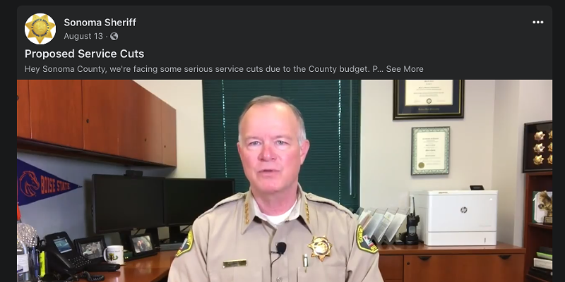 Sonoma County Sheriff Mark Essick addresses Sonoma County residents in an Aug. 13 Facebook video.