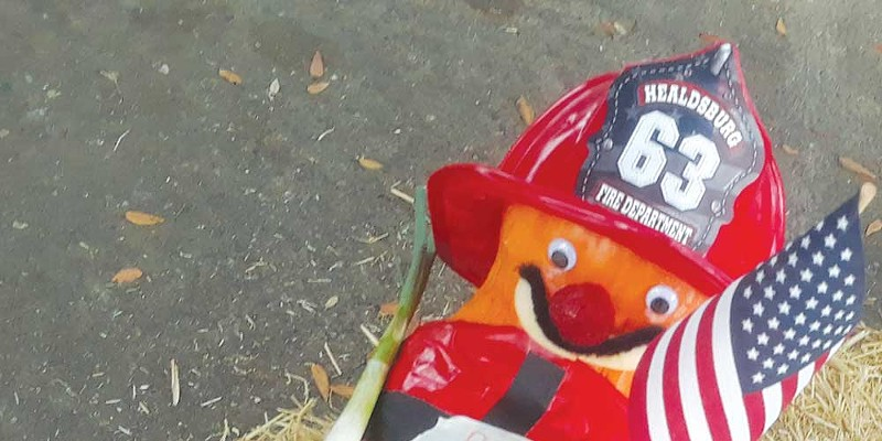 A pumpkin decorated in tribute to firefighters.