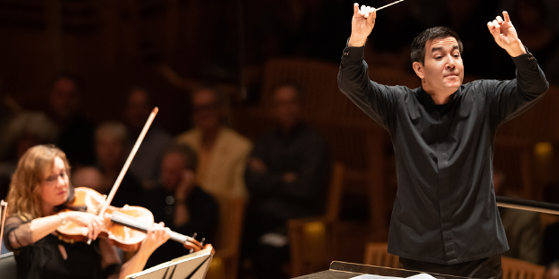Santa Rosa Symphony conductor Francesco Lecce-Chong leads the orchestra in a recent concert.