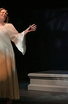 AFTER PARTY Mary Shelley (Sherri Lee Miller) rises from her tomb to tell her story.