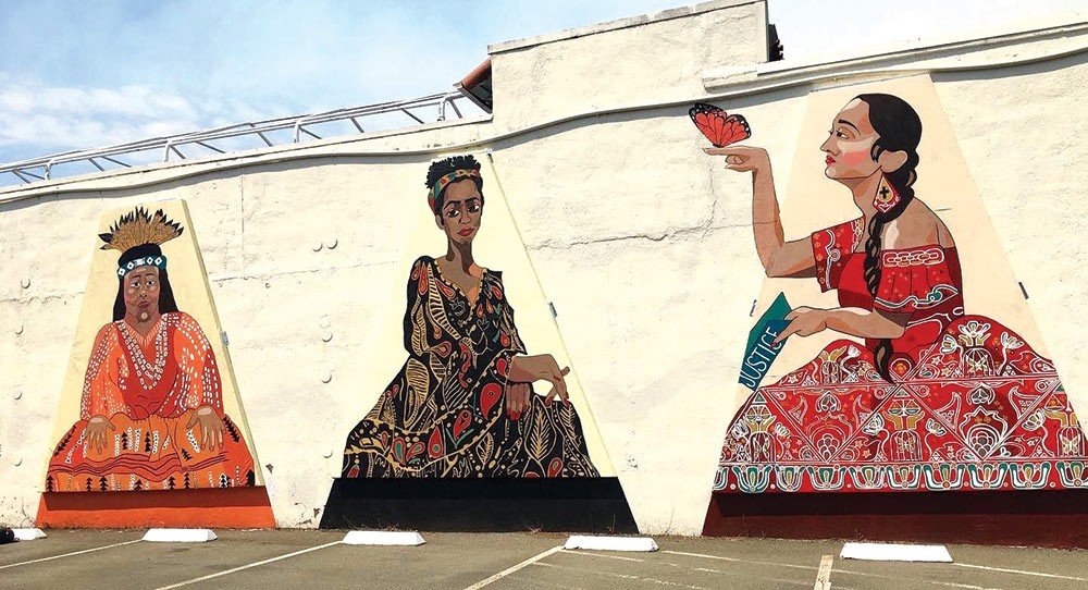 The Trinity Mural in downtown Santa Rosa depicts three BIPOC Sonoma County activists. Credit: Ricardo Ibarra