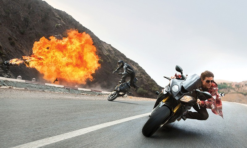 CYCLEPATH Tom Cruise is too cool for a helmet in the latest 'Mission: Impossible.'