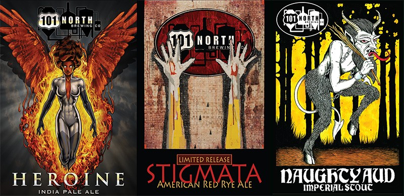 READ THE LABEL  Petaluma's 101 North Brewing tells stories with its bottle graphics.