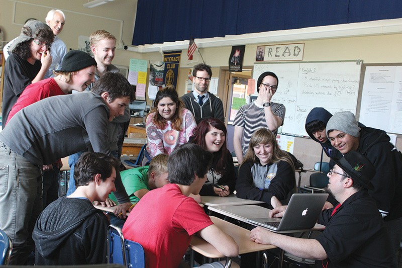 FOR THE KIDS Pixar animator and Alexander Valley Film Society board member Adam Burke (bottom right) leads an animation workshop with students at Cloverdale High School last March. - KATHRYN HECHT
