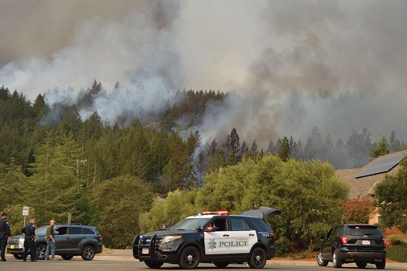 Fire races down a ridge toward Wild Lilac Lane northeast of the Fountain Grove area. - TOM GOGOLA