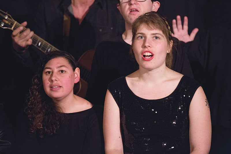 LOUD AND PROUD Vocal Alchemy choir members Riley Borges and Devon Perkins, left to right, lends her voice to the Inclusive Festival. - JILL NEWMAN
