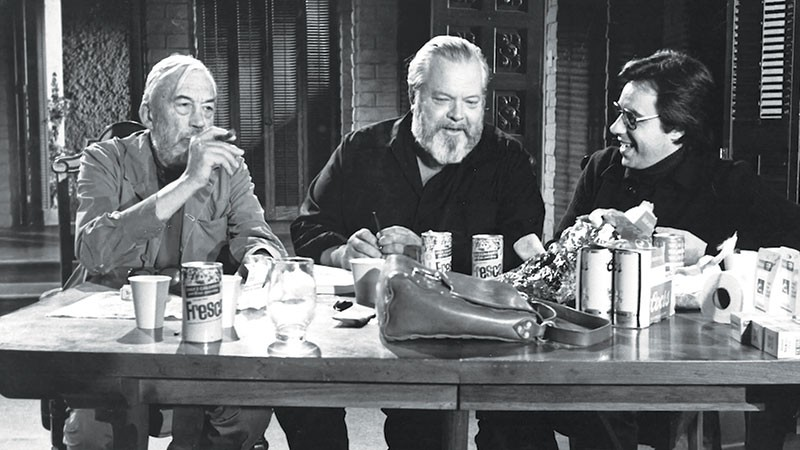 HOLLYWOOD GODS  John Huston, Orson Welles and Peter Bogdanovich - pal around on the set of 'The Other Side of the Wind.'