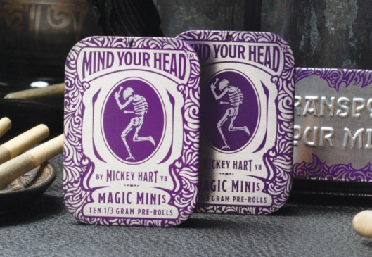 Grateful Mickey Hart designed the label on his tins of Chemdog prerolls.