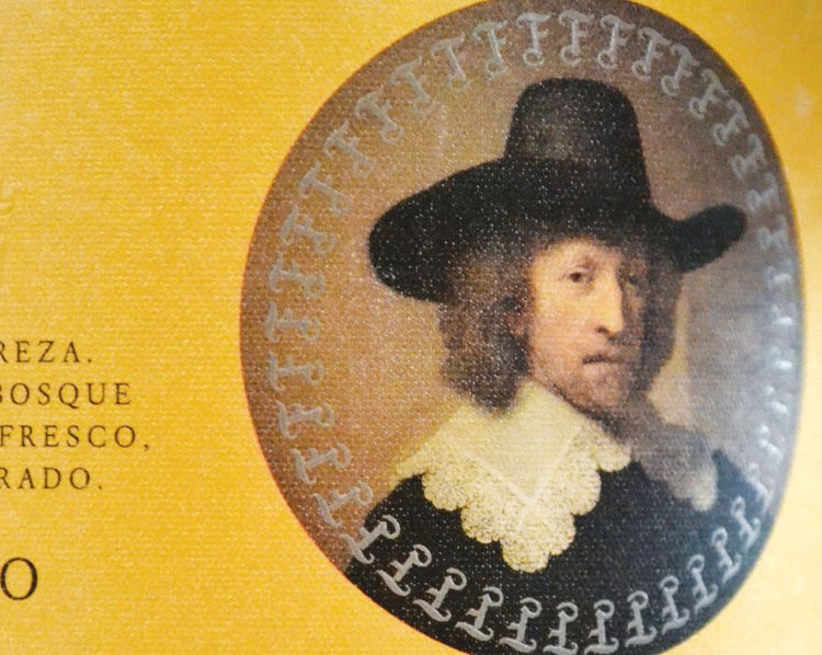 Pilgrim? Nee. Rembrandt's portrait of Nicolaas van Bambeeck as pictured on a bottle of Spanish wine.