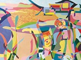 """Imagined Landscapes Abstract acrylic painting """"Blackbirds Above the Wetlands"""" is one of several Laguna-inspired works on display at Heron Hall."""