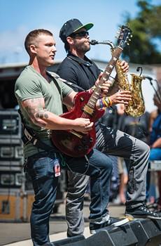 UNRELENTING Thrive guitarist Aaron Borowitz, with the late Scott Shipper of Petaluma