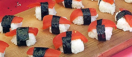 Vegan tomato sushi, super sustainable seafood.