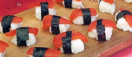Vegan tomato sushi, super sustainable seafood.