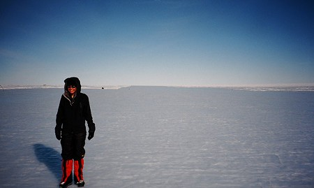WHITE CHRISTMAS The author in Antarctica, poised to set the World Record for the youngest person to climb all Seven Summits.
