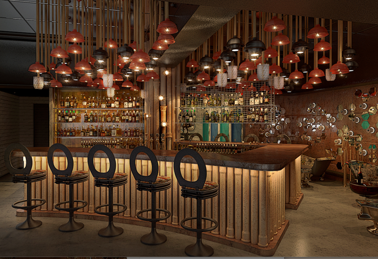 A rendering of a cocktail bar inside Julia & Henry's. - RENDERING BY STAMBUL