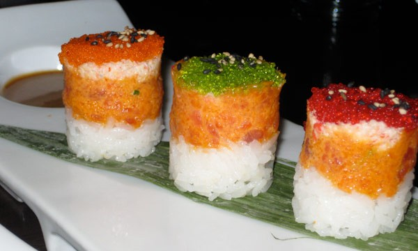 3-LAYER SPECIAL ROLL - Tuna and crab salad over rice and masago