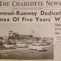 A 1954 headline from the Charlotte News heralds the opening of the city's new Douglas Municipal Airport.
