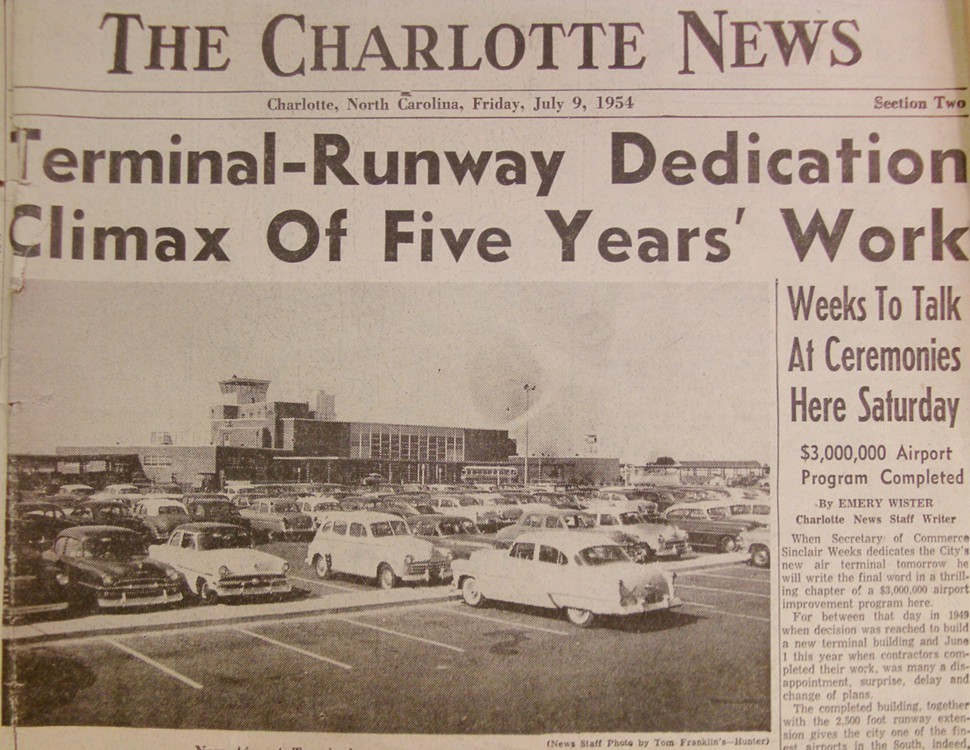 A 1954 headline from the Charlotte News heralds the opening of the citys new Douglas Municipal Airport.