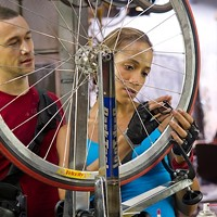 A BICYCLE BUILT FOR TWO: Joseph Gordon-Levitt and Dania Ramirez in Premium Rush (Photo: Columbia TriStar)