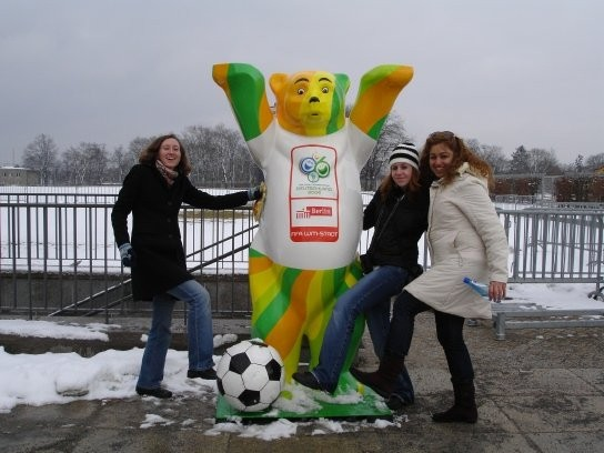 A Buddy Bear I spotted outside of Berlins Olympic Stadium.