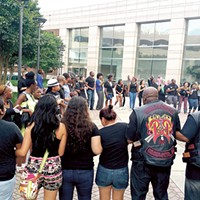 A diverse crowd of students, teachers, clergy members and even some bikers gathered at the Government Center on May 12.