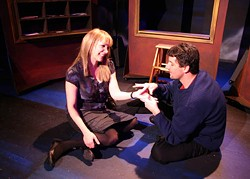 ACTOR'S THEATRE OF CHARLOTTE - A NERD IN THE HAND: Cheerful Jean (Catherine Smith) gets acquainted with timid Dwight (John C. Cunningham).