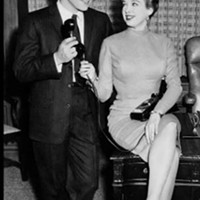 "A publicity photo of David Nelson and Mable Rea on the set of ""The Adventures of Ozzie and Harriet."""
