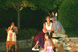 A scene from A Midsummer Night's Dream. Clockwise left to right: Corlis Hayes (Mustardseed), Leah Webb (Titania), Joe Copley (Bottom), Tracy Heberlig (Peaseblossom)