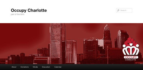 A screenshot from Occupy Charlotte's website